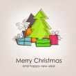 Christmas card with colorful christmas tree and gifts
