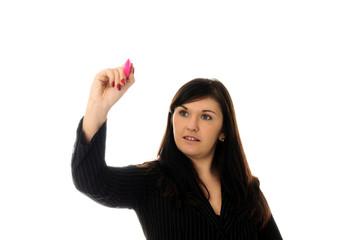 Business woman holding a pen