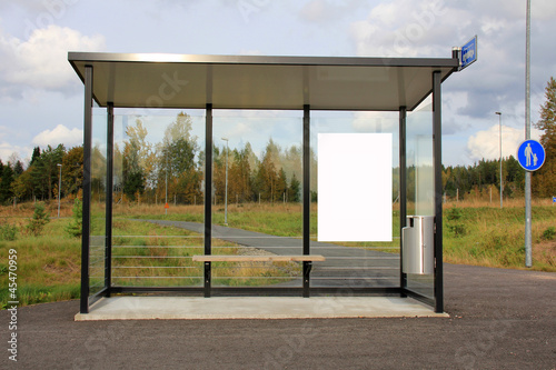 Bus Stop Shelter with Blank Billboard
