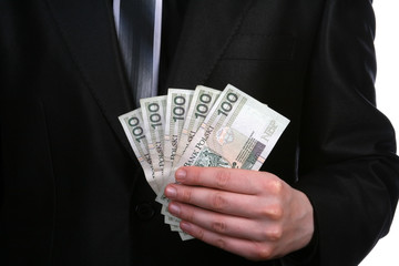Businessman showing money