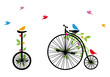 birds on retro bicycle, vector illustration
