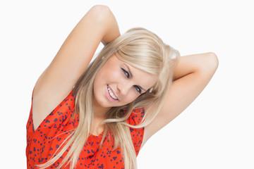 Cute blonde in dress