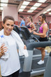 Woman happy in the gym
