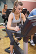 Woman training in a spinning class