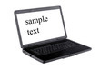 laptop with blank screen for sample text isolated