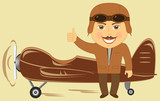 cartoon plane with pilot showing thumb up and smile