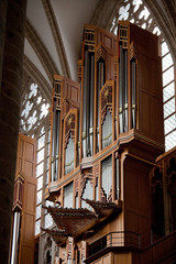 Organ in the cathedral of Brussels in Belgium