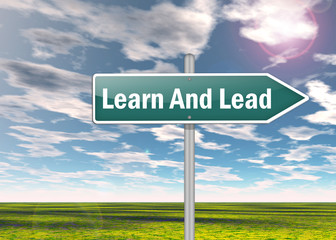 "Signpost ""Learn And Lead"""