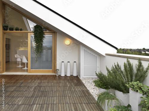terrazzo con vista cucina e vasi di rosmarino | Buy Photos | AP ...