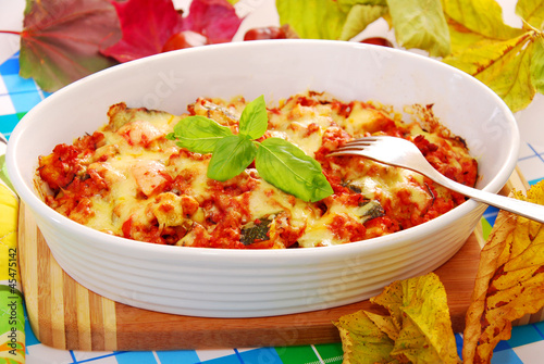 autumn casserole with minced meat and zucchini