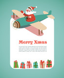 Fototapety Christmas background with retro airplane and Santa