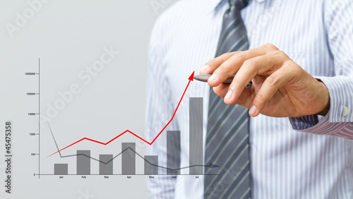 Business hand drawing a growth graph