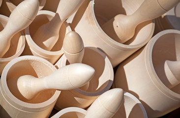 Wooden mortars with pestles