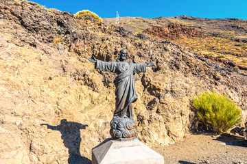 Statue of Jesus at the foot of Mount Teide