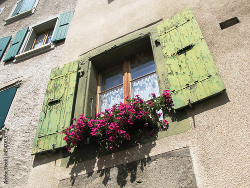 Window of an old house in Lavaux region, Switzerland