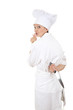 lady chef with knife keeping silence sign, white background