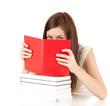 ashamed student girl covering face book