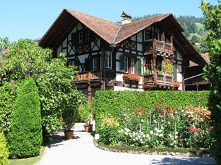 Traditional wooden Swiss house