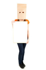 young girl in paper bag on head with blank board