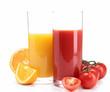 tomato juice and orange juice