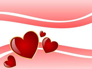 Swoosh Valentine Hearts Border Background