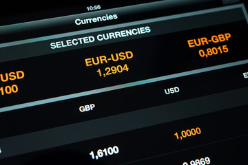 currency exchange information on screen tablet pc