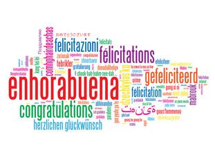 """Nube de Palabras """"ENHORABUENA"""" (congratulations félicitations)"""