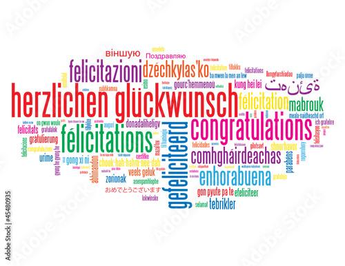 Herzlichen Glückwunsch Auf Verschiedenen Sprachen