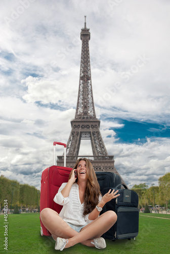 Happy girl in Paris