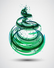 Abstract Green Spiral Background. Vector