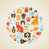 Vector frame with cat and dog icons
