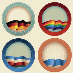 Abstract vector round frames with flags