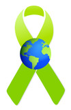 green ribbon and globe illustration design
