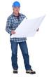 mature carpenter consulting blueprints