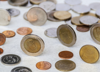 Conceptual image of Thai currency coins