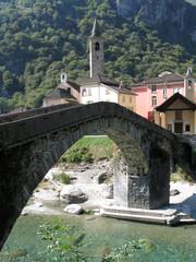 Ancient stone bridge in Bignasca, Switzerland