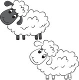Cartoon sheep. Coloring book. Vector illustration