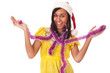 Happy young black woman in christmas cap