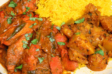 Indian Chicken Curry Meal with Rice and Potato