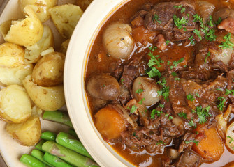 Beef Bourguignon Stew with Vegetables