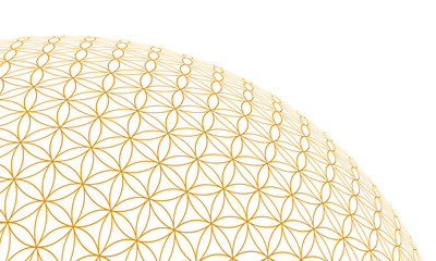 3D Kugel - Blume des Lebens - Gold Weiß