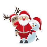 Fototapety santa claus reindeer and snowman