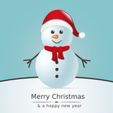 Fototapety snowman with scarf and santa claus hat