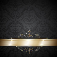 Royal template with ornate background and golden swirls