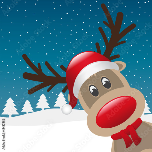 reindeer red nose and scarf