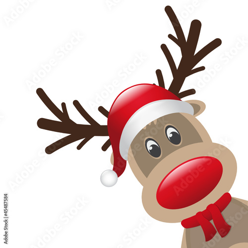 reindeer red nose scarf isolated
