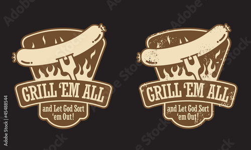 Barbecue vector emblem. Includes clean and grunge versions.