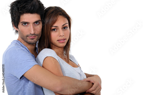 Cute couple hugging.