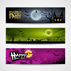 Halloween banners set design background