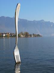 Giant fork in water. Vevey, Switzerland